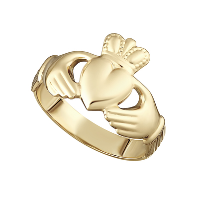 9K HOLLOW BACK GENTS CLADDAGH RING