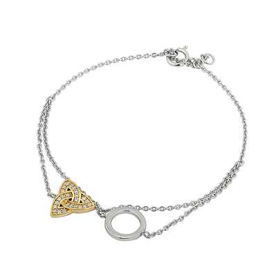 S/S & GP CRYSTAL TRINITY CIRCLE BRACELET (BOXED)
