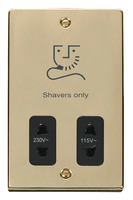 Click Deco Victorian Polished Brass with Black Insert Dual Voltage Shaver | LV0101.1807