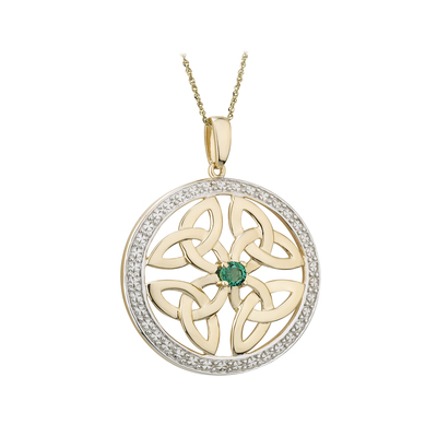 14K EMERALD ROUND TRINITY KNOT PENDANT(BOXED)