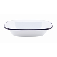 Rectangular Pie Dish Enamel White With Blue Edge 20x15x4.5cm