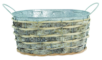 Welcome Basket Metal with Willow Surround 20cm