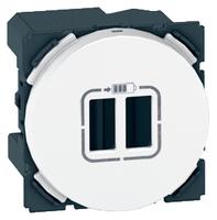 Arteor  2 USB Charger Socket Round - White  | LV0501.2486