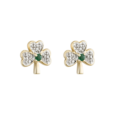 14K DIAMOND & EMERALD SHAMROCK STUD EARRINGS