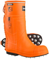 Skellerup Schoen Forestry Pro Level 4 Chainsaw Boot Spiked Sole Orange/Blue