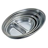 Vegetable Dish Oval 2 Division Stainless Steel 300mm Long