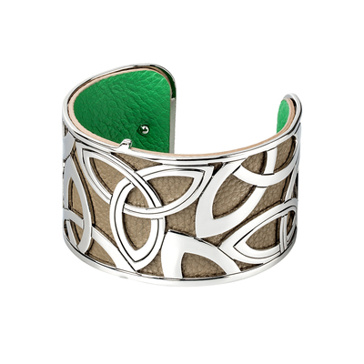 RHODIUM PLATED LEATHER WIDE TRINITY CUFF BANGLE
