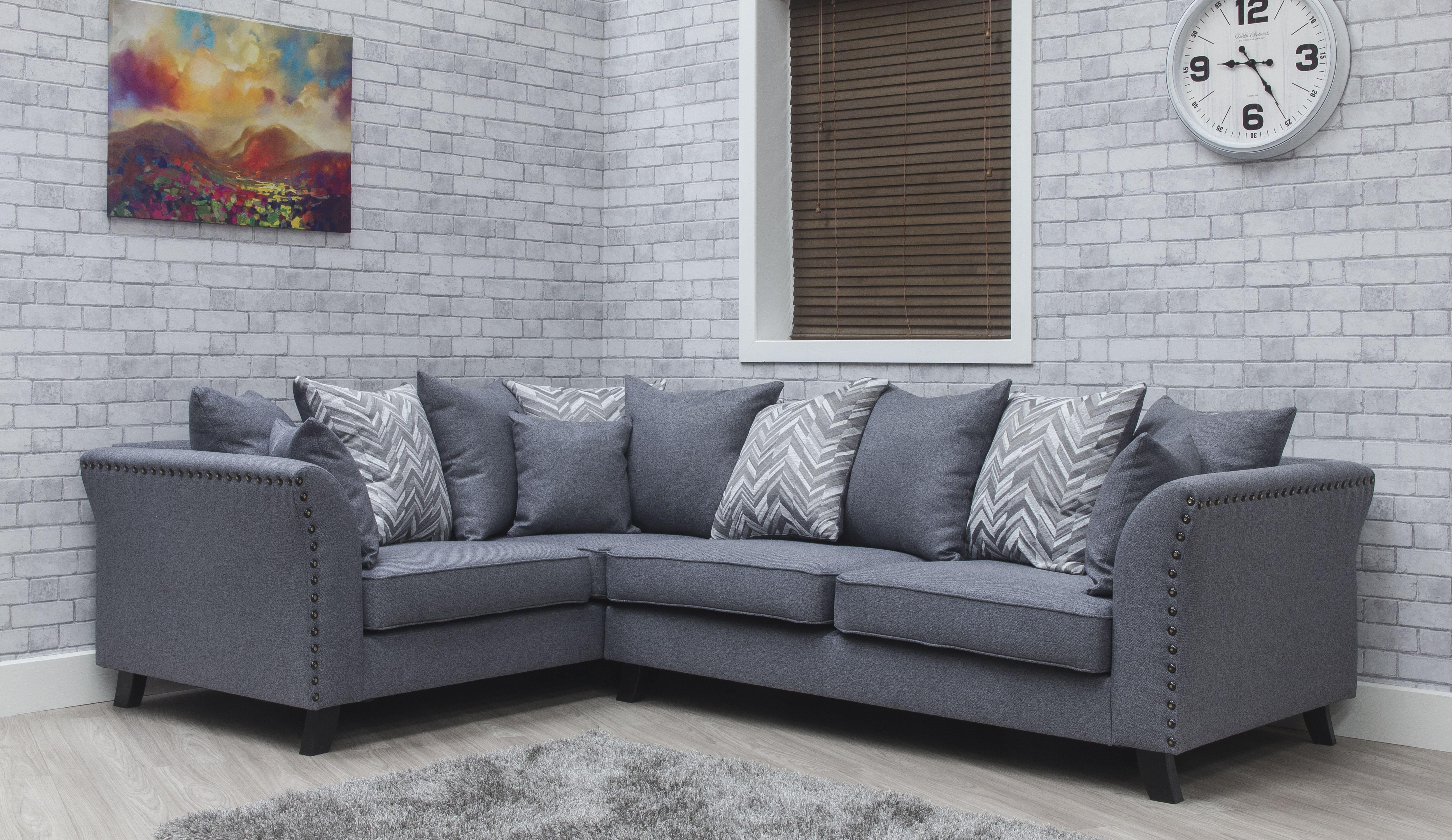 Cassia Fabric Sofa - Steel 4