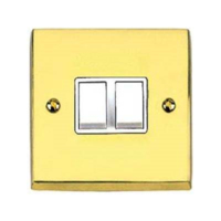 VICTORIAN BRASS HERITAGE SWITCH 2 GANG 2 WAY