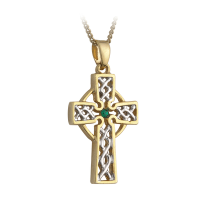 TWO TONE PLATED GREEN CRYSTAL CELTIC CROSS PENDANT