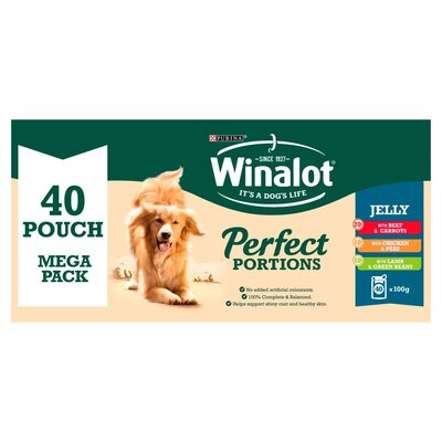 Winalot Pouches Perfect Portions - Mixed in Jelly 100g x 40pk Megapack x 1