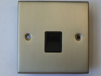 Single Telephone Socket Secondary Satin Chrome