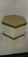 HAT BOX GOLD STRIPE HEX SHAPE 34X17/36X19CM