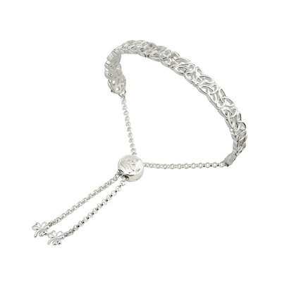 sterling silver trinity knot draw string bangle s5979 from Solvar