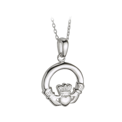 SMALL SILVER HEAVY CLADDAGH PENDANT