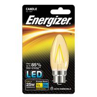 ENERGIZER LED 2.4W (25W) 250 LUMEN B22 FULL GLASS FILAMENT CANDLE LAMP WARM WHITE