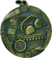 60mm Swimming Medallion (Antique Gold)