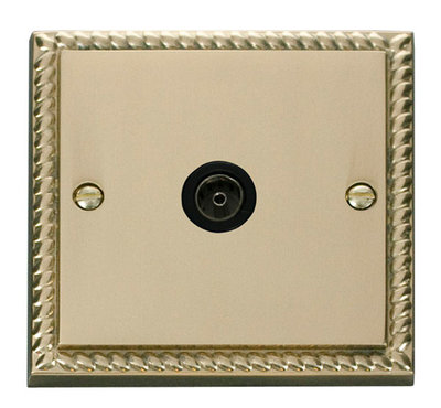 Click Deco Georgian Cast Brass with Black Insert Single Coaxial Socket | LV0101.0049