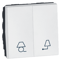 Arteor 2 Way Switch For Lights 2 Module Square - White  | LV0501.2602