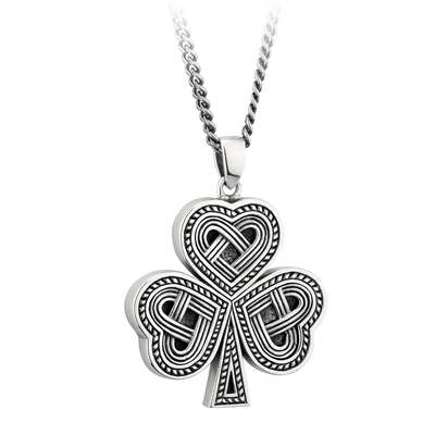 SILVER OXIDISED CELTIC SHAMROCK PENDANT (BOXED)
