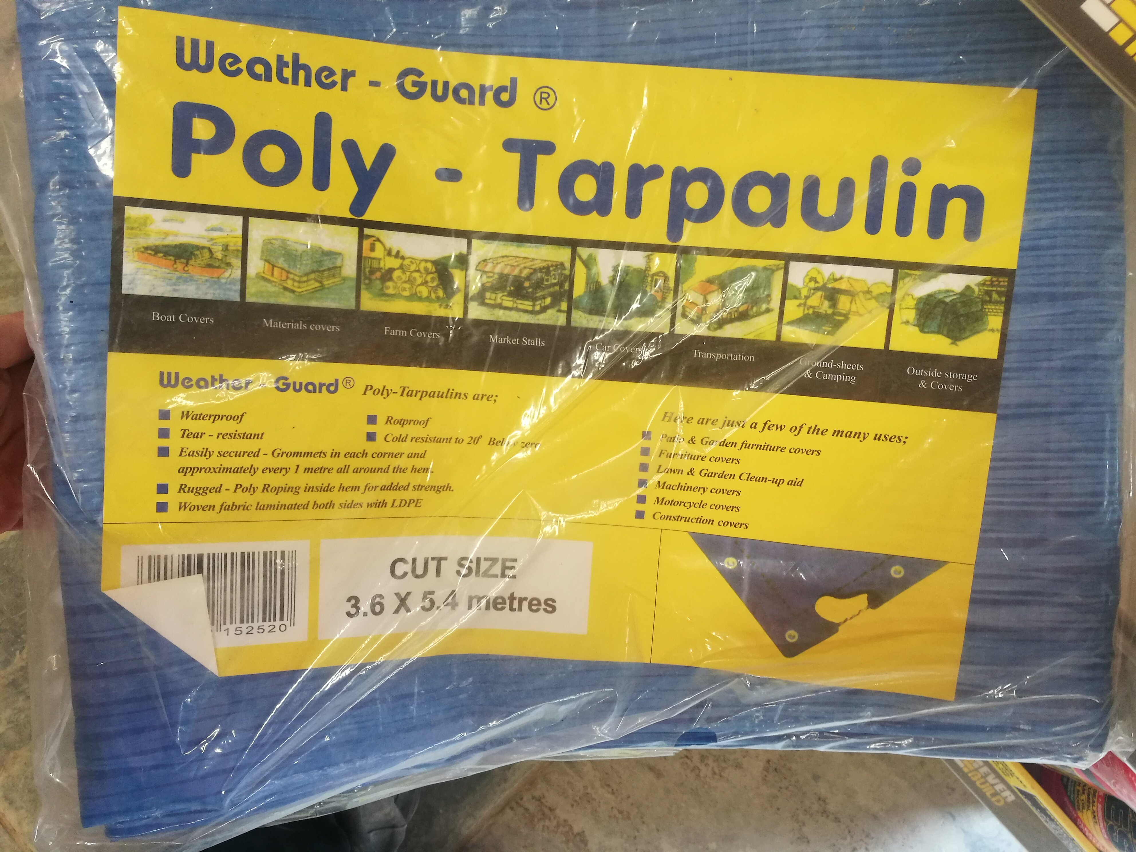TARPAULIN 3.6m X 5.4m Blue