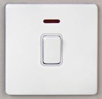 DETA Screwless 20Amp Double Pole switch with Neon White Metal White Insert | LV0201.0035