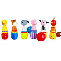 wooden skittles - farm animal theme