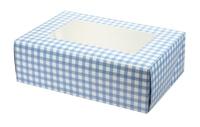 CUPCAKE/MUFFIN-GINGHAM-BLUE 25 PER PACK