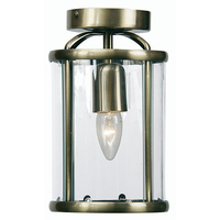 Fern 1 Light E27 Flush Lantern Antique Brass