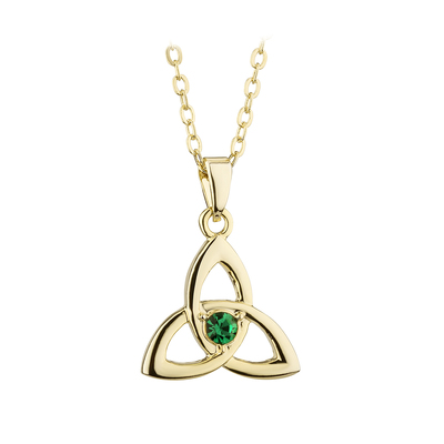 GOLD PLATED CRYSTAL TRINITY KNOT PENDANT