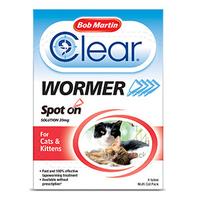 Bob Martin Clear Wormer Spot On Cat Drops 4 Tube x 1