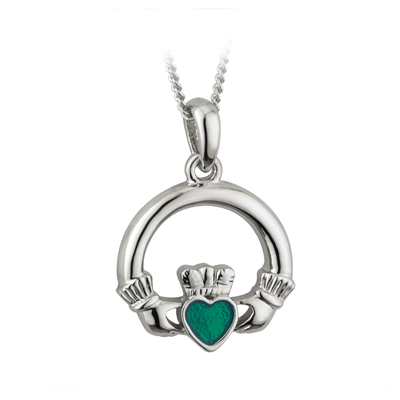 RHODIUM PLATED ENAMEL CLADDAGH PENDANT