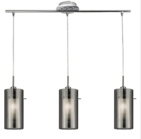 DUO 1 CHROME 3 LIGHT  E14 BAR PENDANT WITH DOUBLE GLASS CYLINDER  SMOKEY SHADES