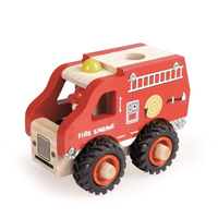 Wooden toy fire engine