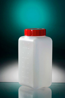Square Bottle 1000ml, Graduated. White Screw