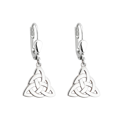 STERLING SILVER CELTIC KNOT DROP EARRINGS(BOXED)