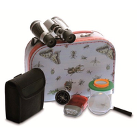 Explorer Case with binoculars, bug jar, magnifying glass, flashlight and compass.