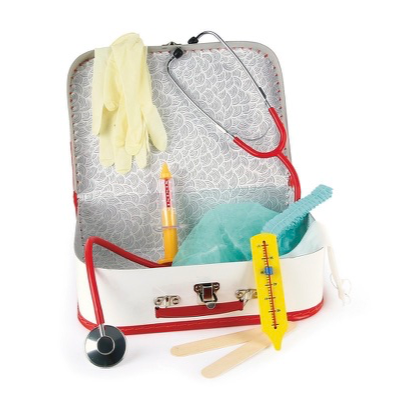 Toy doctors kit in a carry-case