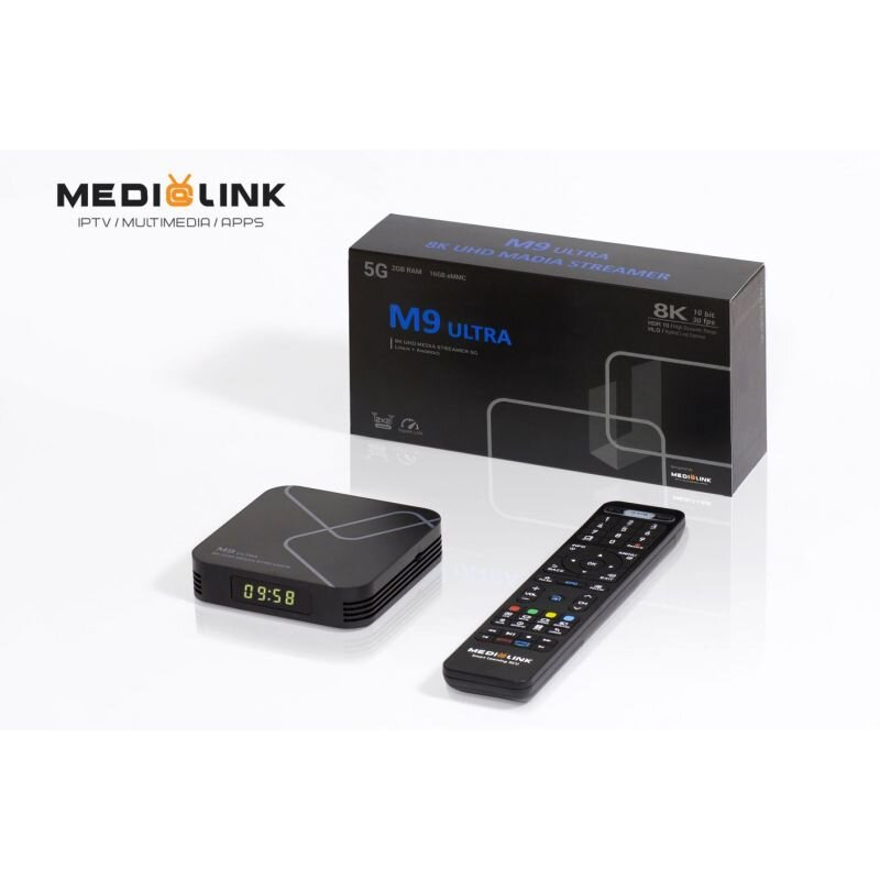 Medialink M9 Ultra 8K Linux plus Android 9.0 IPTV Box
