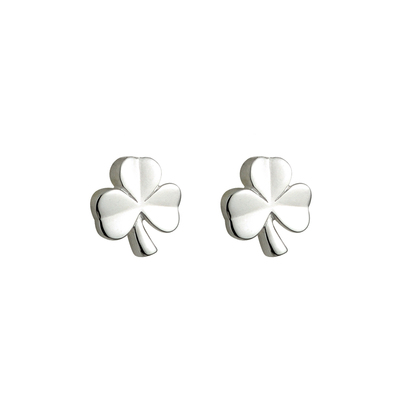 SILVER KIDS SHAMROCK STUD EARRINGS (BOXED)