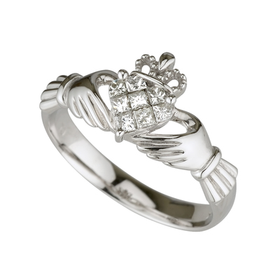 14K WHITE DIAMOND CLADDAGH RING