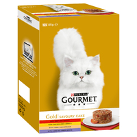 Gourmet Gold Cat Can Savoury Cake Beef & Tomato Multipack 85g 12-Pack x 4