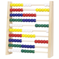 Colourful wooden abacus for kids - 10 bars, 100 beads, 5 colours