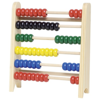 Small wooden abacus for kids - 6 bars, 60 beads, 5 colours