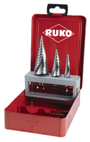 Ruko HSS Step Drill 3 Piece Sizes 0/9, 1 and 2 in Steel Case