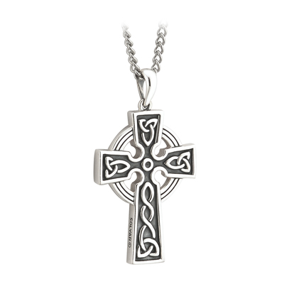 S/S DBLE SIDE OXIDISED CROSS PENDANT - STEEL CHAIN