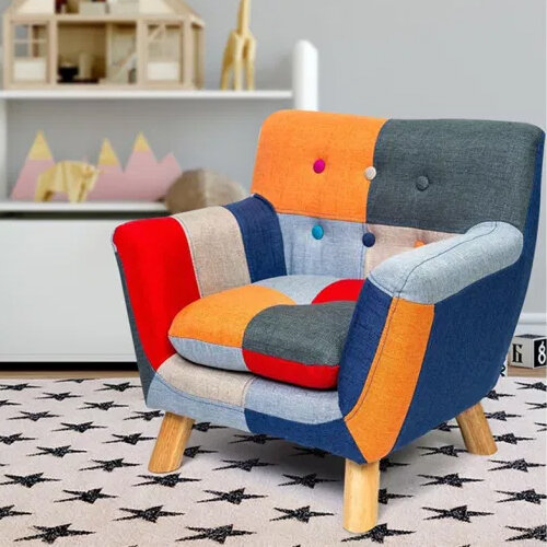 Annah Linen Patchwork Kids Chair SIDE VIEW IN ROOM SETTING