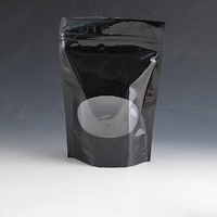 500g High gloss black stand up pouch with window.