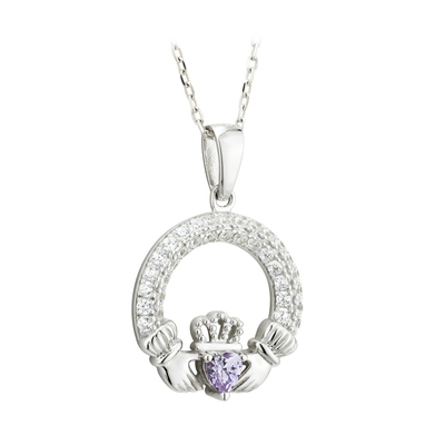 AMETHYST CLADDAGH PENDANT (JUNE BIRTHSTONE) (BOXED)