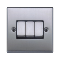 FEP Low Profile Satin Chrome 3g 2w Sw Black Insert Chrome Switch | LV0801.0003